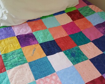 Patchwork quilt, Llama Lover's quilt, bedtime comforter, purple, pink, peach,blue, Twin  63 X 92, traditional blanket, red pajama lover
