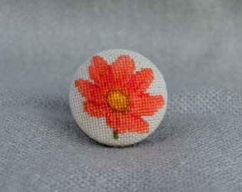 Flower ring, Cross stitch ring, Embroidered jewelry, Tangerine flower, Ring handmade, Blaze flower, Round ring, Nature jewelry, Gift for Her