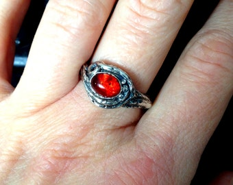 Roots & Resin Ring: Cherry Amber with Recycled Sterling, Size 8