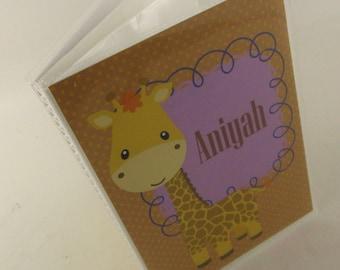 Girl Photo Album, Baby Photo Book, Personalized Photo Album, Giraffe Picture Album, 4x6 photo album 5x7 Purple custom 446