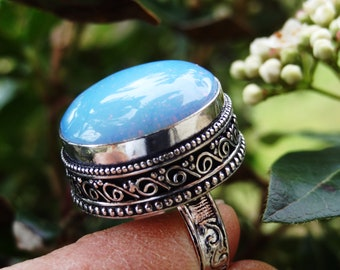 Mother's ring opalite solid 925 sterling silver - size 7.75 - single model - unisex gift - gift idea