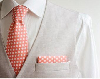 Necktie, Neckties, Mens Necktie, Neck Tie, Mens Necktie, Groomsmen Necktie, Ties, Peach Neckties, Peach Ties, Wedding Neckties - Peach Dot