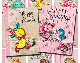 Instant Download, Printable Easter Spring Cards, Digital Download, Collage Sheet, Set of 9 designs.