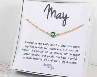 Mai Pierre de naissance Swarovski collier, mai naissance collier émeraude en or, collier en or de Swarovski, collier émeraude en or, bijoux de naissance