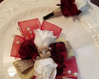 SALE Shades of Red Gold and White Wrist Corsage and Matching Boutonniere   Red Prom Set Artificial Flowers Ready To Ship