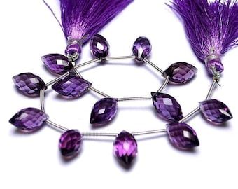 8 Inches - AAA Amethyst Faceted Rice Briolette ( Dew Drops) Size 14x7mm approx