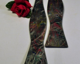 Black Self Tie Bow Tie Fall Pantone Colors of Lush meadow, Potter's Clay, Sharkskin & Aurora Red Made in Asheville, NC!! MM-#16-6