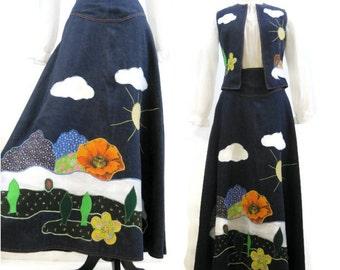 Vintage 60s Denim Patchwork Maxi Skirt Vest Appliqued Scenic Hippie Outfit Dotti Didit M