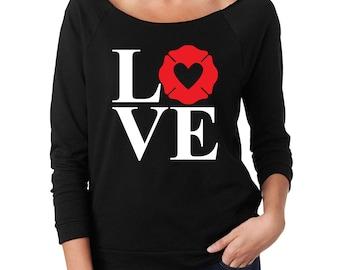 LOVE Fire Wife 3/4 Sleeve Raglan Slouch Sweatshirt with Fire Department Logo Shape - Black Shirt, White Letters, Red Maltese - Glitter Vinyl
