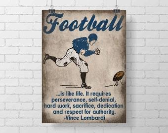 Sport Art Print - PRINTABLE - Kids Football Room Decor - Vince Lombardi Quote - football sport decor print - illustration