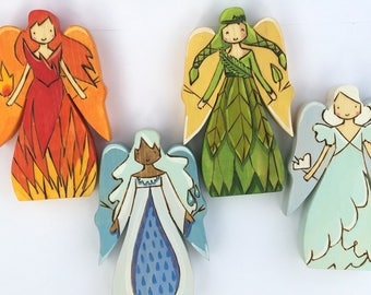 4 Elements Fairy Queens, Waldorf-inspired all-natural wooden toys
