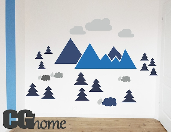 Wall Decal Mountains Nursery Decor Self Adhesive Wall Sticker MOUNTAIN view for kids Navy Blue Wall Pattern