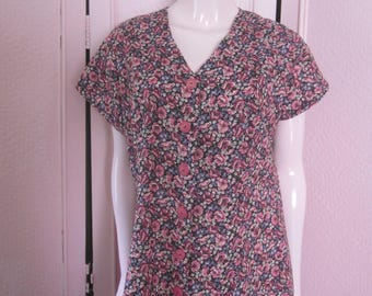 1950s Floral Print Cotton Day Dress, Size M