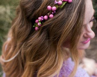 Pink Floral Circlet, Berries Crown, Spring, Summer, Wedding, Bridesmaids, Headpiece, flower Girl, bridal hair, festival, bridal crown