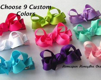 "Baby Hair Bow - Girl Hair Bow - 2"" Hair Bow - Small Hair Bow - Basic Hair Bow - Toddler Hair Bow - Hair Bow Set - Pick 9 Colors - Mini Bows"