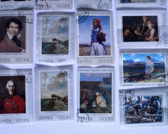 Postage stamps from Soviet Union, 75 postage stamps from Soviet Union with paintings, postage stamps with russian paintings