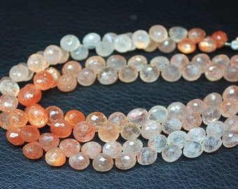 """Natural Shaded Sunstone Faceted Briolette Drop Onion Loose Gemstone Bead 9mm 4"""" - Jewelry Making"""