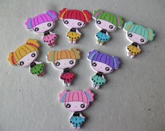 x 5 mixed buttons painted wood pattern girl 2 hole 30 x 28 mm