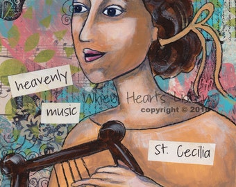 St. Cecilia, patron saint of music, saint painting, religious or confirmation gift