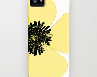 Yellow poppy flower on Phone Case  - iPhone 6S,   flower Gifts, Poppy Gifts, Gifts for her, Samsung Galaxy S6, iPhone 8