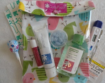 Birds Ouch Pouch Large 6x8 Clear Vinyl Front First Aid Travel Organizer Car Diaper Bag New Mom Hospital Baby Gift