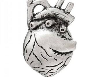 heart pendant anatomic human skeleton skull love steampunk 36x25mm silver body