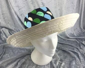Cream sun hat, cream beach hat, retro sun hat