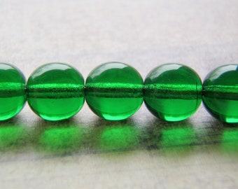 Emerald Green Beads Smooth Round Druk 20 Beads