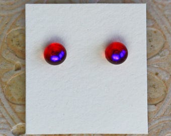 Dichroic Glass Earrings, Petite, Red Violet  DGE-1293