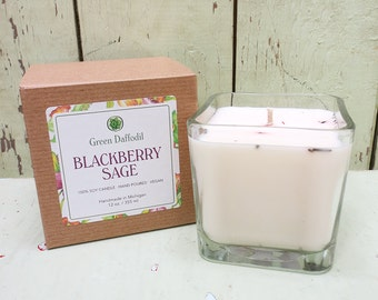 Blackberry Sage Soy Candle - 12 oz. Glass Cube - Green Daffodil - Hand poured -CG