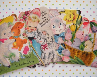 Vintage Lot of 4 Easter Card Flocked Bunny Rabbits Lambs and Chicks Damaged Cards for Crafting