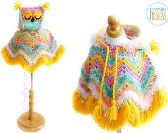 PATTERN Fiesta Owl Poncho with Hood Crochet PDF Pattern with Instant Download