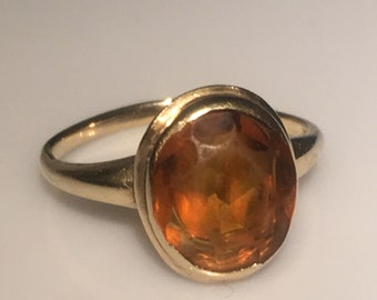Victorian Topaz Gold Ring in 10K Yellow Gold