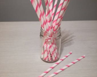 Paper straws pink and white