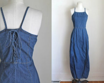 vintage 1990s dress - BLUET denim corset back halter sundress / M