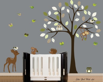 Wall decals vinyl wall decal tree with forest animals nursery wall art