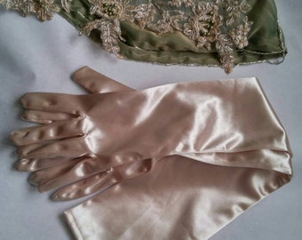 Nude long gloves, cappuccino blush gloves, champagne opera length satin gloves, long evening dress gloves
