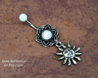 White Opal Belly Button Ring Dangle Belly Button Ring Short Medium Long Belly Ring Opal Belly Button Ring 14G