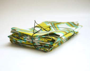 70's Avocado Green Pop Culture Cloth Napkins. Recycled Fabric.  Set of 6.
