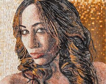 Customized Portrait On Marble Mosaic
