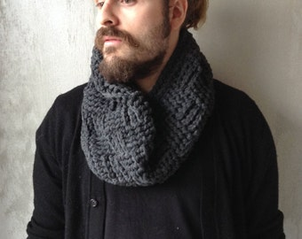 Infinite man 100% French wool scarf, grey anthracite, snood, Choker, collar hook