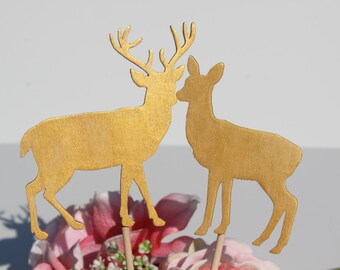 Gold Deer Wedding Cake Topper   -  Rustic Woodland Country Chic Wedding