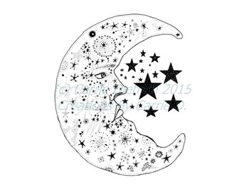 Moon Illustration Print, Moon Art, Moon Drawing, Nursery Art, 8 x 10 Art, Celestial Art, Man on the Moon, Pen and Ink, Black and White Art