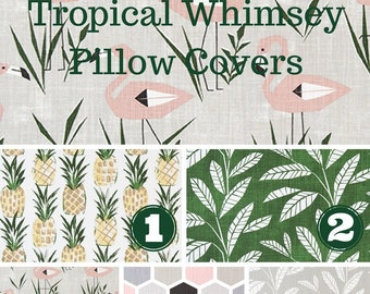 Outdoor Pillow Covers, Tropical Fabric, Premier Prints Fabric, Pineapple Fabric, Beach Decor, Pine Fabric, Decor Choose Size and Quantity