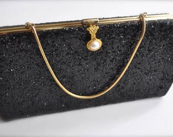 Vintage Ladies Evening Purse Black Sparkle Glitter  with Pearl and Gold tone Hardware