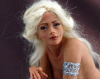 Handmade Lifelike female figure OOAK Art Doll Delia Miniature Sculpture Fairy Angel