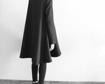 Black wool poncho cape coat