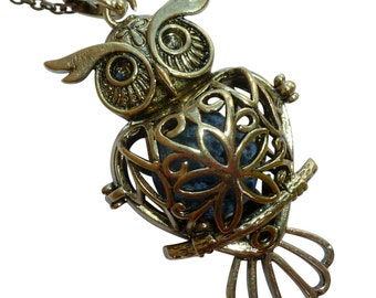YOur perSOnal STYlish Essential oil necklace diffuser Steampunk owl bronze d2 0