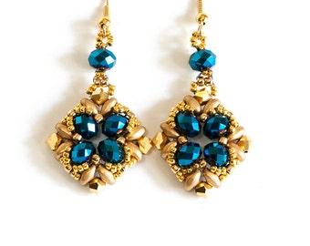 Crystal Earrings - SuperDuo Earrings - Seed Bead Earrings Beadwoven with Metallic Blue and Gold Crystals, Gold SuperDuos and Gold Seed Beads
