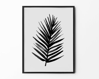 Watercolour Flower Print, Leaf Wall Art, Watercolor Tropical, Black and White, Aquarelle Drawing, Hand Draw Flower, Nature Print